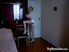 Skinny russian girl does a striptease