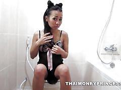 Naughty thai girl is a slutty bunny
