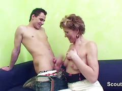 German granny caught young boy masturbation and helps him