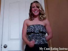 Slowly stroke you cock and then eat your cum cei