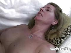 Horny mature stepmom fucks son caught masturbating