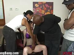 Jennifer white gangbanged by three black guys