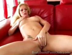 Horny blonde athlete awaits naked for her hunky lover