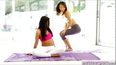 Yoga session of alina and adriana leads into pussy fondling