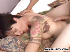 Tattooed girlfriend loves cock targeting her mouth