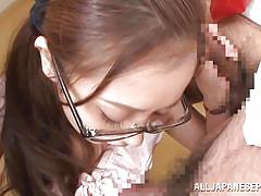 Nerdy asian teen enjoys the cum