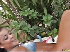 Three lesbian sluts play in the garden for you