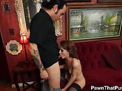 Sweet babe sucks hard cock of pawn owner.