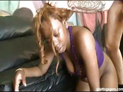 Ghetto whore sinnamon gagging on white cock