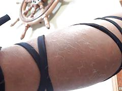 Alluring tranny plays with her meaty cock