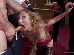 Office slut pleases constructor workers