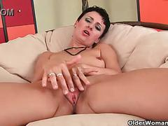Hormone fueled mom loves anal play