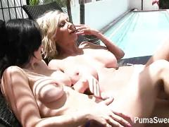 blonde, lesbians, milf, fingering, pool, pussy-licking, public, kissing, outdoors, euro, outside, big-tits, girl-on-girl, finger-fucking, making-out, licking-vagina