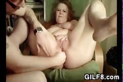 Having fun fisting grandmas loose pussy