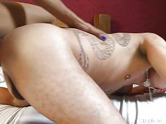 She gets her huge curved cock deepthroated
