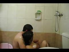 Chubby wife & hubby shower fun