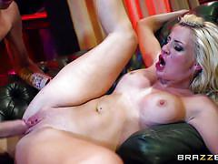 Horny blond milf fucked on a couch