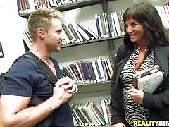 milf, handjob, big tits, library, picked up, pussy rubbing, public place, boob rubbing, milf hunter, reality kings
