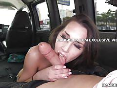 Sexy brunette gets screwed in the bang bus