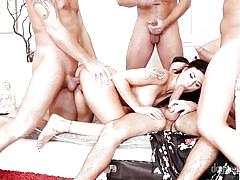 Billie has four dicks to satisfy @ 4 on 1 gang bangs #05