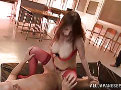 Asian in a red sexy lingerie gets a bukkake