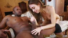 Teen slut fucks black rod