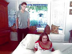 Redhead gives a blowjob in the bed @this isn't twilight: breaking dawn the xxx parody part 1
