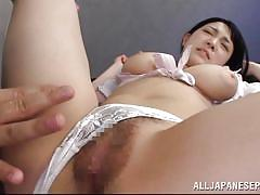 Naughty japanese babe sucks dick and tastes her own pussy
