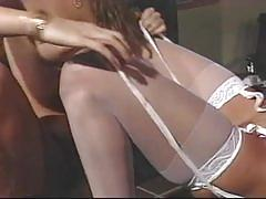 Blonde and brunette babes get fat cock action on the couch