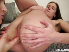 lesbian, pussy, babe, gaping, brunette, shaved, fingering, pussy-licking, kissing, natural-tits, anal-play