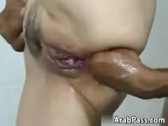 Kinky arab chick gets an enema and fisted