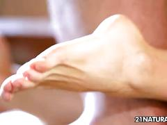 Hottie enjoys a sensual footjob adventure