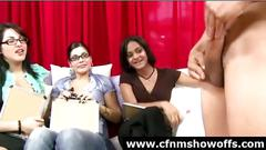 Group of femdom girls watch cfnm guy jerk off