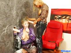 Strapon lesbian dominated at the gloryhole