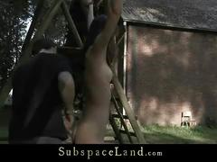 Aspen hard spanked outside and assfucked