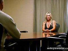 Hot office milf meeting turns into a pov blowjob
