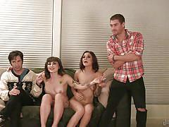 Punk girls with guys having fun