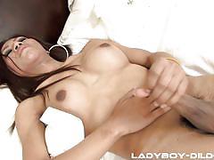 Ladyboy jacks off after fucking