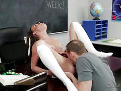 skinny, schoolgirl, teacher, blowjob, kissing, pussy licking, classroom, brunette babe, on the table, reality junkies, kacey lane, erik everhard