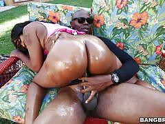 Nikki's oiled big booty shines