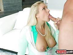 Busty mom sucks her daughter's tutor