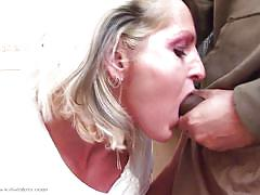 Filthy mature sucks a dick in the toilet