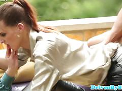 Brunette and redhead sluts share a hard cock