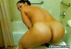 Slut washes her dirty body in the shower