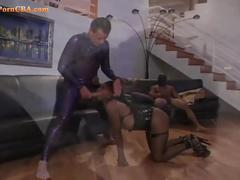 Extreme ebony having an anal threesome fuck