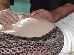 milf, hairy, massage, big tits, pantyhose, oiled, pussy licking, work, brunette, dirty masseur, brazzers network, katie st. ives, johnny sins