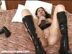 dildo, toy, masturbating, toys, masturbation, solo, blackhair, sextoy, masturbate, insertion, brutal