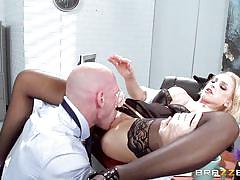 blonde, big tits, pussy licking, undressing, busty babe, sexy lingerie, at work, on the table, tit squeezing, big tits at work, brazzers network, alix lynx, johnny sins