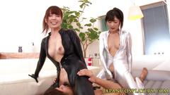 Hairy japanese fetish babes in trio rubbing
