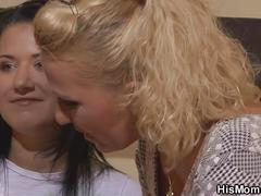 His lesbian mom licks girl's young pussy